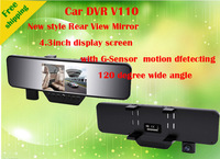 2013 New Design Car DVR Rear View Mirror V110  4.3''TFT  +  Full HD1920*1080P 25FPS G-SENSOR+ 120 Wide Angle