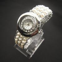 Free shipping hot fashion charm bracelet pearl bracelet LC Rhinestone Quartz watches for women married Relogio feminino