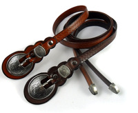 Free shipping Genuine leather lady embossing belts with zinc alloy buckle