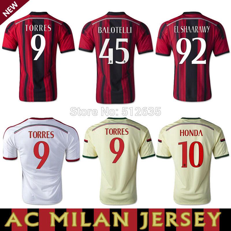 2013-2014 Best Thailand Quality 13 14 Ac Milan Home Soccer Jersey Wite Away EL SHAARAWY BALOTELLI ROBINHO PAZZINI 22# KAKA(China (Mainland))