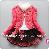 1 Set Retail,2013 New girl 3pcs clothing set knitted suit+lace shirt+bow tutu skirt children dress suits,high quality QT-1006989