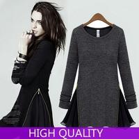 Autumn Dress 2015 New Fashion O-Neck Knited Fleece Slim Side Zipper Patchwork Cotton Long-Sleeve  Casual Dress Women Vestidos