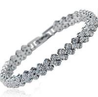 wholesale 100% pure 925 sterling silver platinum full crystal  bracelet fine jewelry SSB012