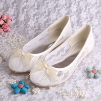 Free/Drop Shipping Ivory Lace Ballet Flats Bridal Wedding Shoes Women With Ribbon Bowtie