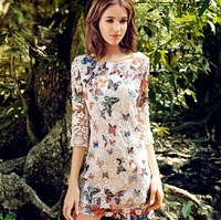 New Coming Korean Style Fashion Women Butterfly Printing Lace Hollow Out Cute Dress I0138 Free Shipping