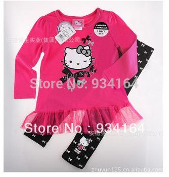 Big Promotion 2014 NEW Brand  Children Girl Suit 2 Pcs O-neck Long Sleeves Cartoon Hello Kitty Mini Tutu Skirt T Shirt+ Leggings
