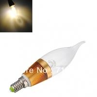 10pcs/lot E14 E27 E12 base fitting 3W AC85-265V warm /cold white LED candle bulb corn light Gold Fixture With Tail Glass