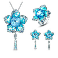 CDE Free Shipping Fashion Blue Flower Jewelry Set