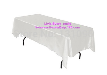 5pcs High Quality  White Rectangle 147cmx304cm Satin  Table Cloth For Wedding Event &Party &Hotel &Resturant Decoration