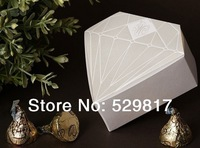 2013 New Items 80pcs Wedding Diamond Shaped Favor Boxes Candy or Chocolate  Wedding Party Favour Boxes ,free shipping