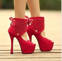 2013 New arrive ultra-high heels nightclub waterproofn fine with 16cm hollow fish mouth single shoes fashion Rhinestone