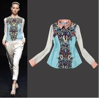 2014 New Brand Woman Chiffon Blouse Printed Flower Retro Ethnic Style European Shirt Woman Fashion Woman Shirt Blouse t196