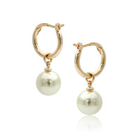 wholesale Italina Simple Pearl Waterdrop U-shaped Hoop Piercing Earrings with 18K Gold Plated Sale Holiday Gift
