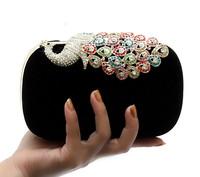 2014 New Arrive Women's Peocock Clutch Bag Diamond Dinner Party Bag Soft Velvet Banquet corduroy Shoulder Bag 6Color NO03316