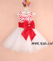 MBK-13081303 Wholesale New Fashion 2015 Flower Girl Dresses Sleeveles 3-8 Years Girls Party Dress with Bowknot Free Shipping