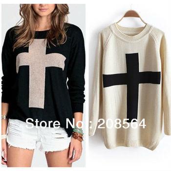 Womens Cross Pattern Knitwear Sweater Outerwear Crew Pullover Tops 1556