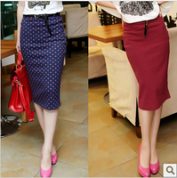 2013 spring and autumn vintage style fashion design elegant slim hip pencil  high waist dot women skirt