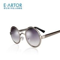 Eartor 2013 vintage round box women's sunglasses anti-uv metal sunglasses