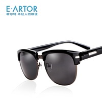 Eartor male sunglasses vintage male Women box sun glasses black sunglasses