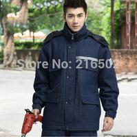 FREE SHIPPING winter work wear denim wadded jacket cotton mechanic jacket engineer jacket worker jacket