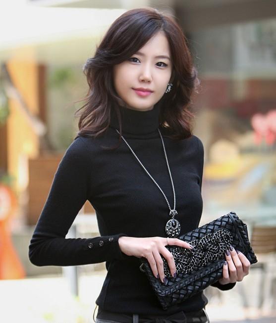 2014 Hitz Korean Female Turtleneck T shirt Women Autumn Winter ...