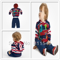 Retail Kids Autumn 2013 Cute Dinosaur Hoodies Children Outerwear Jacket Pants Boy Suits Set Baby Clothing Set, Free Shipping!
