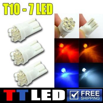 100 X T10 194 168 W5W 7 LED 12V 7led  Wedge side marker turn signal License plate bulb 12V white red blue Free shipping #TB25-2