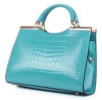 2013 fashion women leather handbags crocodile pattern japanned leather patent leather handbag shoulder cross-body bag for women
