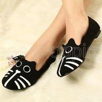054 Animal Design Women Ladies Female Vintage Dog Cat  Round Toe Ballerina Flat Shoes Casual Slipper Black Summer ballerinas