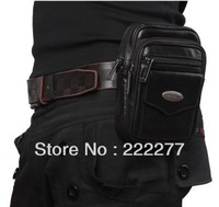 hot selling Free Shipping Genuine leather Man bag male Waist bag casual messenger bag men's fashion bag Designer for men black