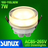 AC110~250V, High Power LED Downlight 7W Round Acrylic Mask High Lumens 100~110 lm/W, 2 Years Warranty, CE & RoHS Certified