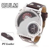 Oulm Brand Best Men's Quartz Military Wrist Watch Clip Design Genuine Leather Band (Oulm 9591)