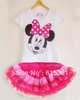 2013 Hot selling Baby suit Short Sleeves Cartoon Minnie Mouse Print T shirt 2 Pcs One Set+Glitter Sequins Detail Mini Tutu Skirt