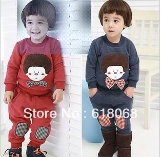 Free Shipping 2013 New Autumn Children Clothing Set Baby Child Cartoon Doll Set Boy's T-shirt+Patch Harem Pants Set 5sets/lot