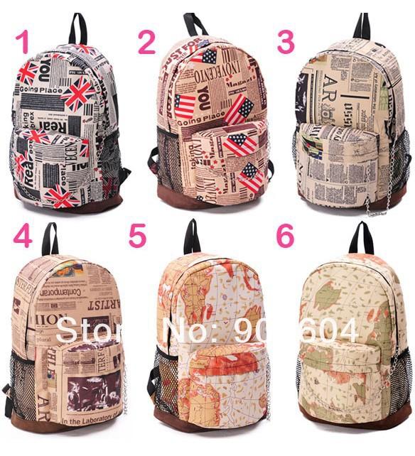 2014 new flag vintage printing backpack newpaper men luggage & travel shoulder bag brand military hiking backpack(China (Mainland))
