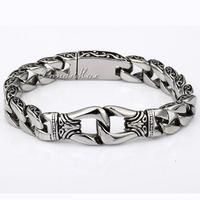 15MM 316L Stainless Steel Bracelet Silver Tone Mens Boys bracelet  Wholesale Jewelry  LHB10  (Length 18-28cm)