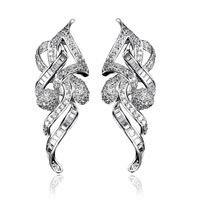2013 Ladies Luxury Gold  Plating AAA Cubic Zirconia Prong setting Earrings Boutique DC1989