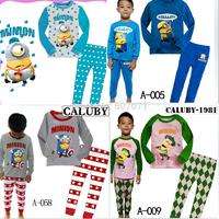 New Girls Long Sleeve Pyjamas Baby Kids Sleepwear Mickey hello kitty pajamas cotton homewear 2 - 7Y 2pcs/set 3 styles