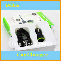 2.1A Belkin F8J078bt04-BLK Universal USB Mini Car Charger +Data Sync Cable For iPhone 5 5S 6 iPad 4 iPod Nano 7 5pcs/lot