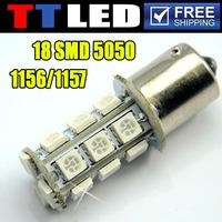 4 X S25 1156 1157 BA15S BAY15D P21W 18 SMD 5050 LED Car wedge turn signal brake led bulb 12V white amber red Drop shipping #TF04
