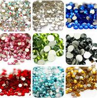 Top Quality 1440pcs SS6 18 Colors Crystal Glue Fixed (Non Hotfix) Flatback Rhinestone Nail Art Decoration Jewelry Accessories