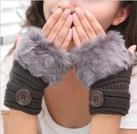 New 2014 Faux Fur gloves for Women Ladies Winter semi-finger Button Fashion Fingerless gloves 7 colors