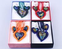Heart Shape Lampwork Glass Earrings Necklace Sets Dichroic Foil Pendant Jewelry Sets Mix Order 4 boxs/lot 14395