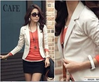Womens OL Jackets Coat Lapel One Button Long Sleeve Short Suit Blazer Outerwear 0027