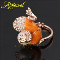 High Quality 2014 Animal Design Fashion Jewelry White Rhinestone 18K Rose Gold Plated Orange Stone Gecko Ring With Pearl