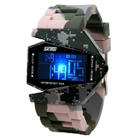 Free Shipping,Personalized Camouflage waterproof led electronic watches male women's lovers jelly vintage sport watch