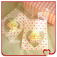 400pcs/lot Romantic Transparent Heart Print OPP Cookie Biscuit Gift Packing Bags 10*11CM+4CM, SS070