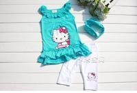 2-8Years Summer Hello Kitty Baby Girl Suits Kids Sets headband+Dress+Pants Children Clothing 3pcs Set