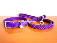 2013New Pu Leather Bling Rhinestone Heart Pendants Pet Dog Collar+Leash lead Set