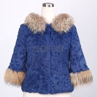 2013 fashionable warm Winter Women's Natural Rabbit  Fur Jacket with Raccoon Dog Fur Hoody Female Short Outerwears Coats QD28212
